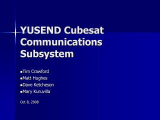YUSEND Cubesat Communications Subsystem