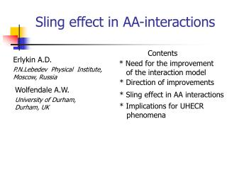 Sling effect in AA-interactions
