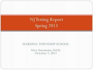 NJ Testing Report Spring 2013