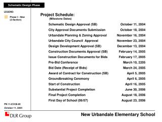 Project Schedule: 		 (Milestone Dates)	 Schematic Design Approval (SB)	October 11, 2004