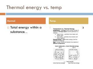 Thermal energy vs. temp