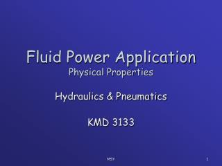 Fluid Power Application Physical Properties