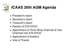 ICAAS 26th AGM Agenda