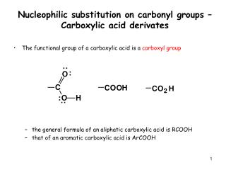 Nucleophilic substitution on carbonyl groups – Carboxylic acid derivates