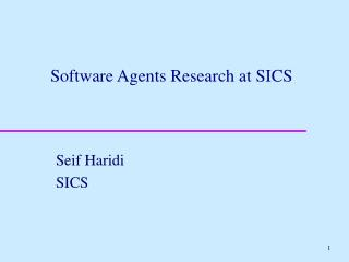 Software Agents Research at SICS