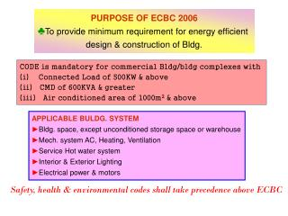 PURPOSE OF ECBC 2006 To provide minimum requirement for energy efficient