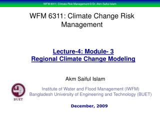 WFM 6311: Climate Change Risk Management