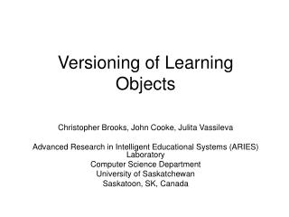 Versioning of Learning Objects