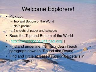 Welcome Explorers!