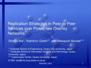 Replication Strategies in Peer-to-Peer Services over Power-law Overlay Networks