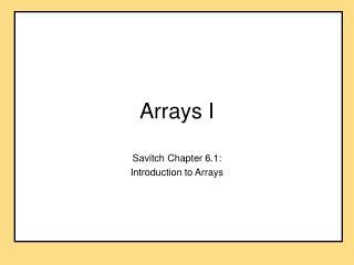 Arrays I