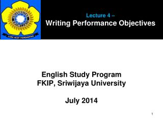 Lecture 4 –  Writing Performance Objectives