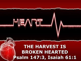 THE HARVEST IS BROKEN HEARTED Psalm 147:3, Isaiah 61:1