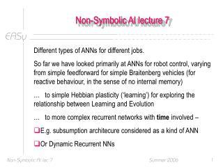 Non-Symbolic AI lecture 7