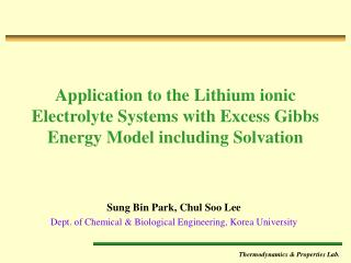 Sung Bin Park, Chul Soo Lee Dept. of Chemical & Biological Engineering, Korea University