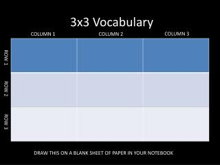 3x3 Vocabulary