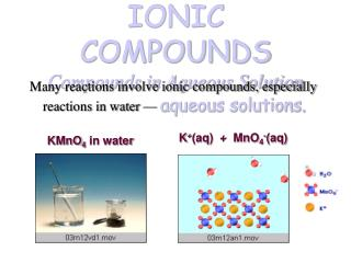 IONIC COMPOUNDS Compounds in Aqueous Solution