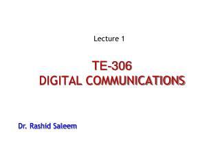 TE-306 DIGITAL COMMUNICATIONS