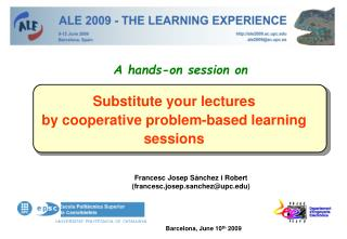 Substitute your lectures  by cooperative problem-based learning sessions