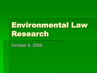 Environmental Law Research
