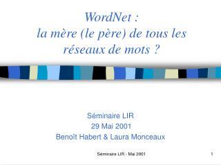 WordNet : la m�re (le p�re) de tous les r�seaux de mots ?