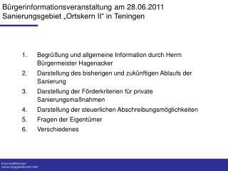 """Bürgerinformationsveranstaltung am 28.06.2011 Sanierungsgebiet """"Ortskern II"""" in Teningen"""