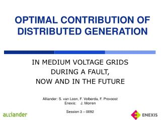 OPTIMAL CONTRIBUTION OF DISTRIBUTED GENERATION