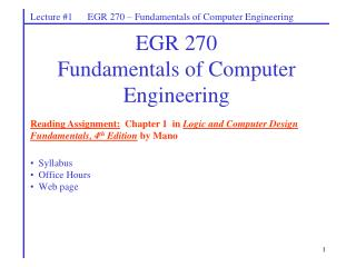 EGR 270 Fundamentals of Computer Engineering