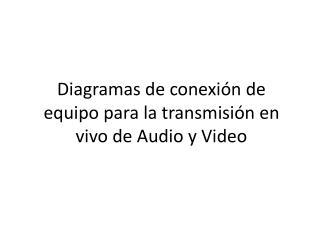 Diagramas de conexión de equipo para la transmisión en vivo de Audio y Video
