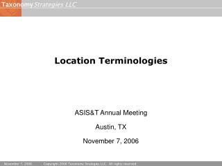 Location Terminologies