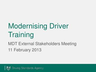 Modernising Driver Training