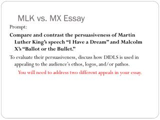 MLK vs. MX Essay