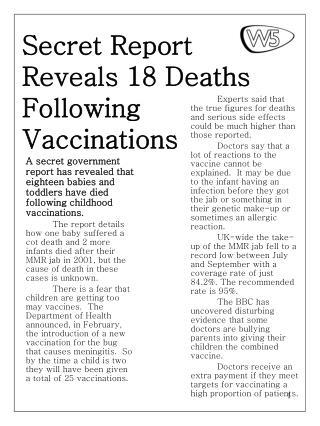 Secret Report Reveals 18 Deaths Following Vaccinations