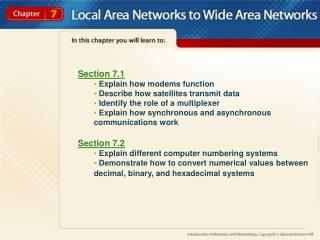 Section 7.1  Explain how modems function  Describe how satellites transmit data