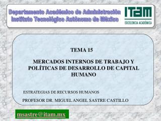 MERCADOS INTERNOS DE TRABAJO Y POLÍTICAS DE DESARROLLO DE CAPITAL HUMANO