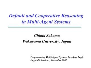 Default and Cooperative Reasoning in Multi-Agent Systems