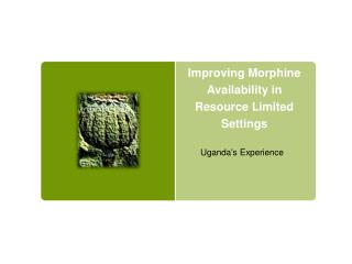 Improving Morphine Availability in Resource Limited  Settings