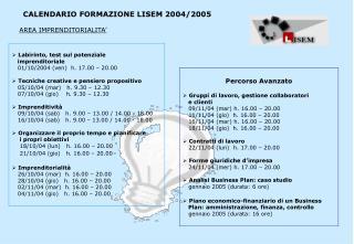 Labirinto, test sul potenziale    imprenditoriale    01/10/2004 (ven)  h. 17.00 – 20.00