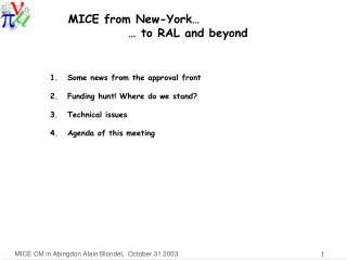 MICE from New-York�             � to RAL and beyond