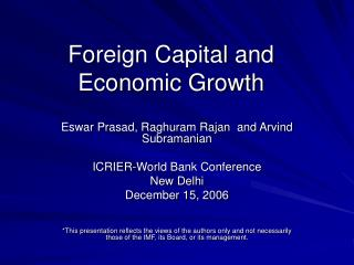 Foreign Capital and Economic Growth