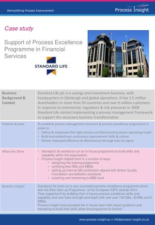 Case study  Support of Process Excellence Programme in Financial Services