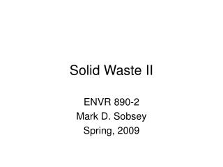 Solid Waste II