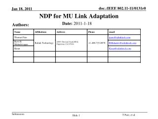 NDP  for MU Link Adaptation