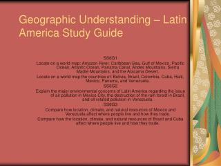 Geographic Understanding   Latin America Study Guide