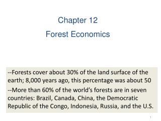 Chapter 12 Forest Economics