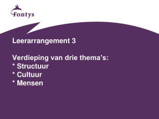 Leerarrangement 3 Verdieping van drie thema's: * Structuur * Cultuur * Mensen