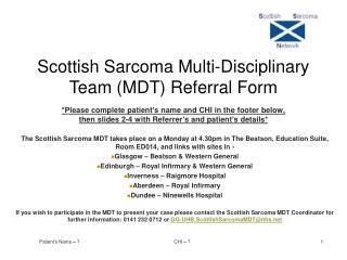 Scottish Sarcoma Multi-Disciplinary Team (MDT) Referral Form