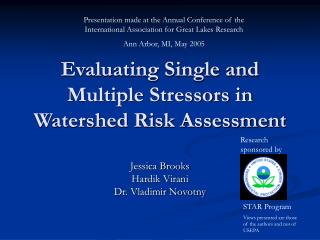 Evaluating Single and Multiple Stressors in Watershed Risk Assessment