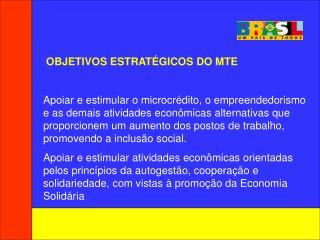 OBJETIVOS ESTRATÉGICOS DO MTE
