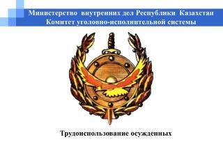 Министерство  внутренних дел Республики  Казахстан         Комитет уголовно-исполнительной системы
